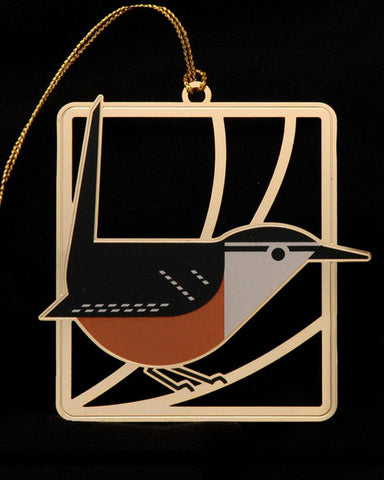 Charley Harper Brass Carolina Wren Ornament Adornment