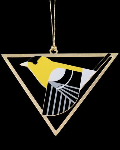 Charley Harper Brass American Goldfinch Ornament Adornment
