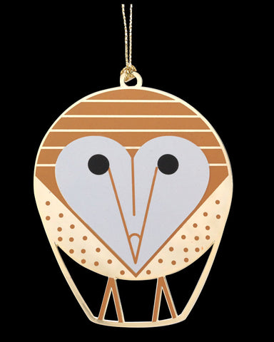 Charley Harper Brass Barn Owl Ornament Adornment