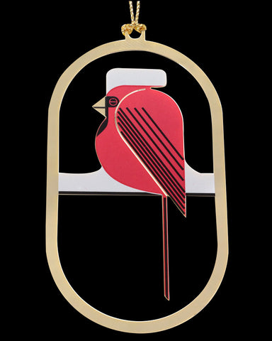 Charley Harper Brass Cool Cardinal Ornament Adornment