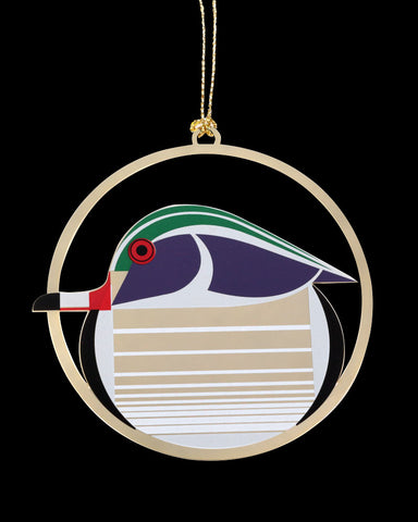 Charley Harper Brass Wood Duck Ornament Adornment