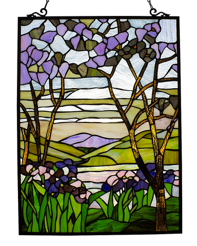 Arts & Crafts Valley Stained Glass Panel