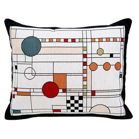 Art Glass Window Circle Study Tapestry Lumbar Pillow