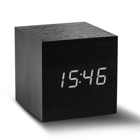 Gingko Wooden Cube Click Clock - Black