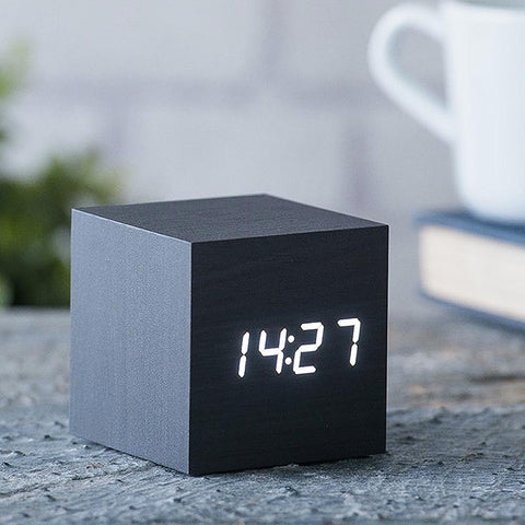 Gingko Cube Click Alarm Clock Sound Activated - Black