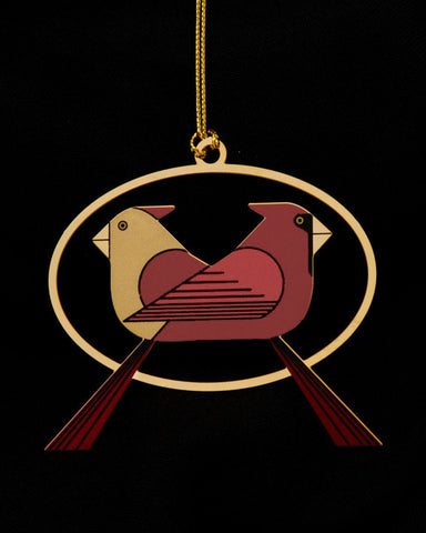 Charley Harper Brass Cardinal Consorting Ornament Adornment