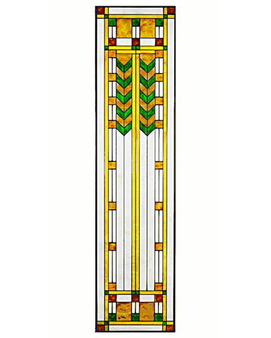 Arts and Crafts Prairie Double Chevron Art Glass Panel - Green
