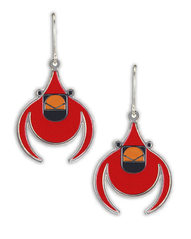 Charley Harper Flying Cardinal Earrings