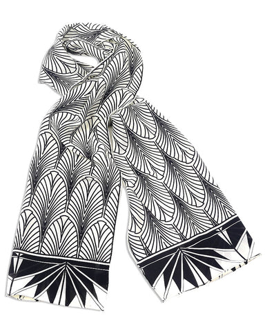 Art Deco New York Crepe de Chine Silk Scarf