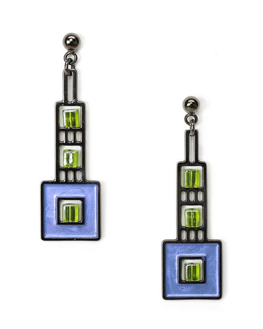 Elmsie Detail Prairie Style Blue Enamel Earrings