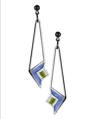Frank Lloyd Wright Art Glass Blue Enamel Earrings