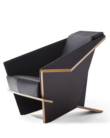 Frank Lloyd Wright Taliesin Origami Chair - Leather Upholstery Angled