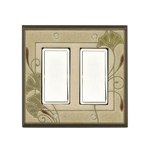 Art Nouveau Ginkgo Ceramic Tile Switch Plate Double Rocker