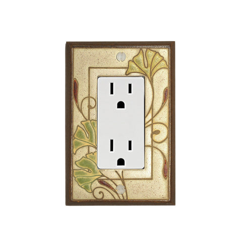 Art Nouveau Ginkgo Ceramic Tile Switch Plate Single Rocker Outlet
