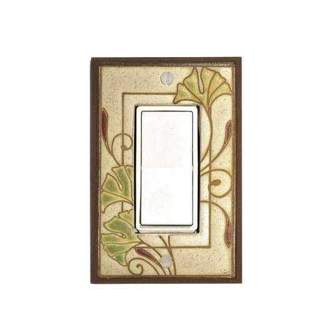 Art Nouveau Ginkgo Ceramic Tile Switch Plate Single Rocker