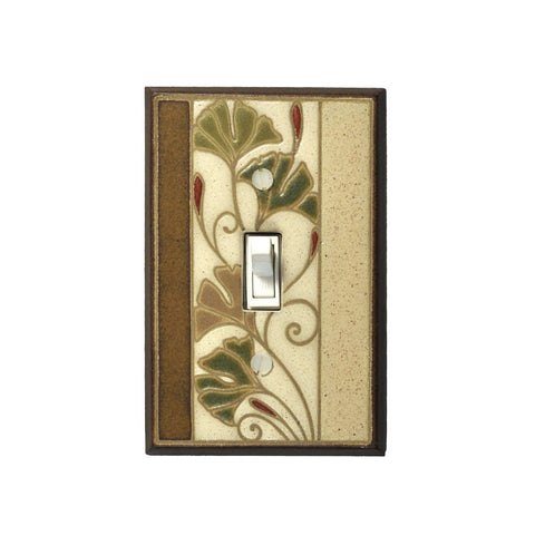 Art Nouveau Ginkgo Ceramic Tile Switch Plate Single Toggle
