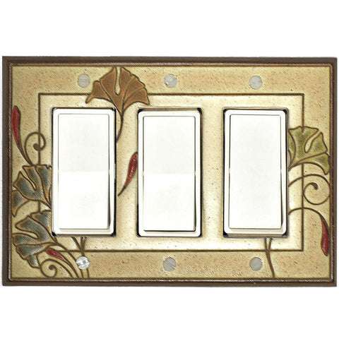 Art Nouveau Ginkgo Ceramic Tile Switch Plate Triple Rocker