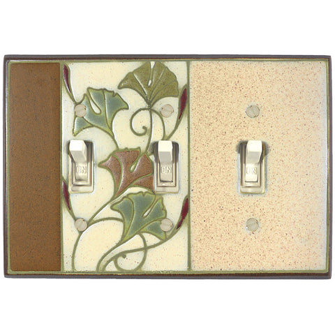 Art Nouveau Ginkgo Ceramic Tile Switch Plate Triple Toggle
