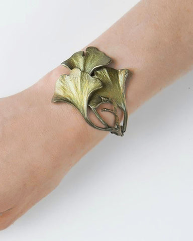 Ginkgo Leaf Patinated Bronze Cuff Bracelet model display
