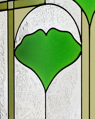 "Arts and Crafts 42"" Ginkgo Stained Glass Panel"