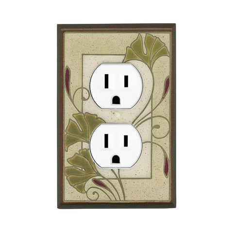 Art Nouveau Ginkgo Ceramic Tile Switch Plate Single Outlet