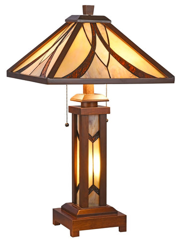 Arts & Crafts Gordon Table Lamp with Lighted Base
