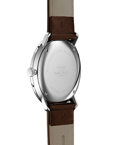 Junghans Quartz 41 Watch 4461.04 White/Dark Brown Calfskin
