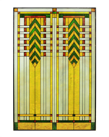 "Arts and Crafts Prairie 20"" x 30"" Chevron Art Glass Panel Green"