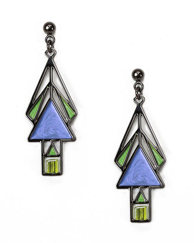 Mahony Window Earrings Twilight Blue Enamel