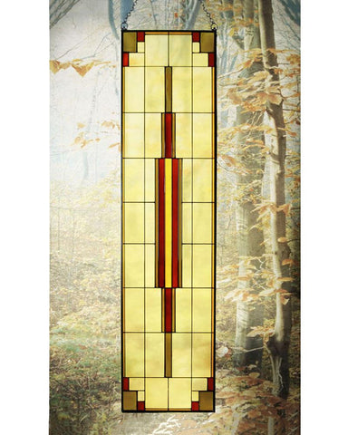 "Arts and Crafts 35.5"" Tall Prairie Window Art Glass Panel 12"