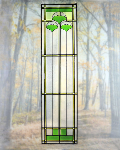 "Arts and Crafts 35.5"" Ginkgo Stained Glass Panel"