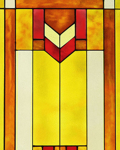 "Arts and Crafts Prairie Window Red 20"" x 30"" Art Glass Panel"