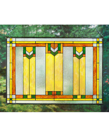 Arts and Crafts Prairie Window Art Glass Panel Green