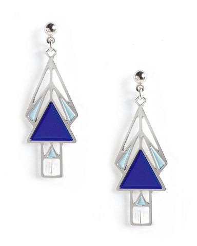 Mahony Window Navy Enamel Earrings