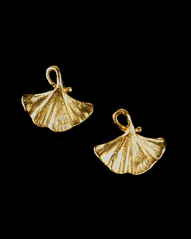 Michael Michaud Single Ginkgo Leaf Bronze Stud Earrings