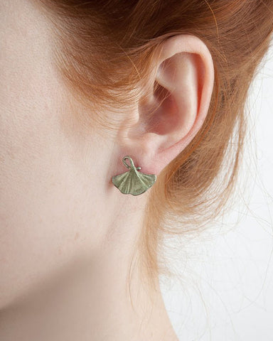 Michael Michaud Single Ginkgo Leaf Post Earrings - Patinated Bronze