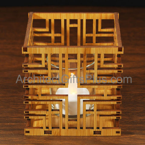 FLW Millard House Design Hardwood Votive Inset