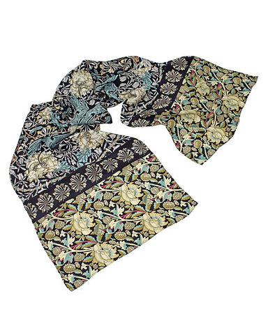 Morris Mix Black Crepe de Chine Scarf