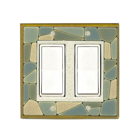 Mosaic Border Ceramic Tile Switch Plate Double Rocker