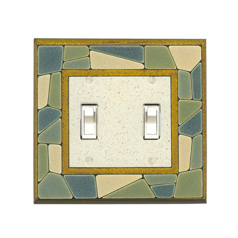 Mosaic Border Ceramic Tile Switch Plate - Double Toggle