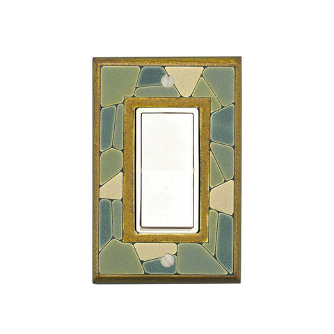 Mosaic Border Ceramic Tile Switch Plate Single Rocker