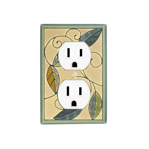 Mosaic Leaves Ceramic Tile Switch Plate Single Outlet