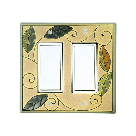 Mosaic Leaves Ceramic Tile Switch Plate Double Rocker