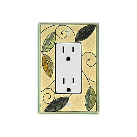 Mosaic Leaves Ceramic Tile Switch Plate Single Rocker Outlet