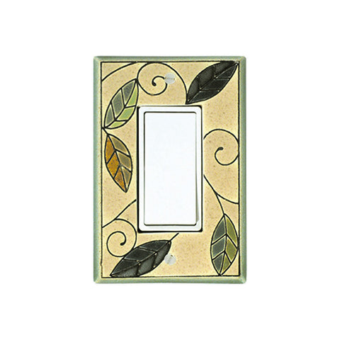 Mosaic Leaves Ceramic Tile Switch Plate Single Rocker