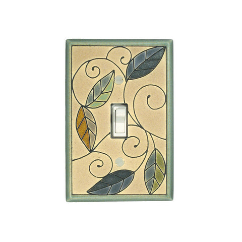 Mosaic Leaves Ceramic Tile Switch Plate Single Toggle