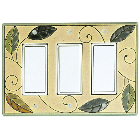 Mosaic Leaves Ceramic Tile Switch Plate Triple Rocker