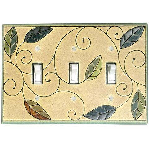 Mosaic Leaves Ceramic Tile Switch Plate Triple Toggle