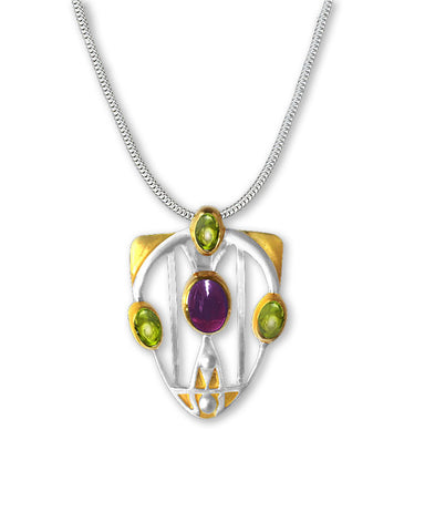 Mackintosh Gesso Inspirations Silver, Garnet, and Peridot Pendant Necklace