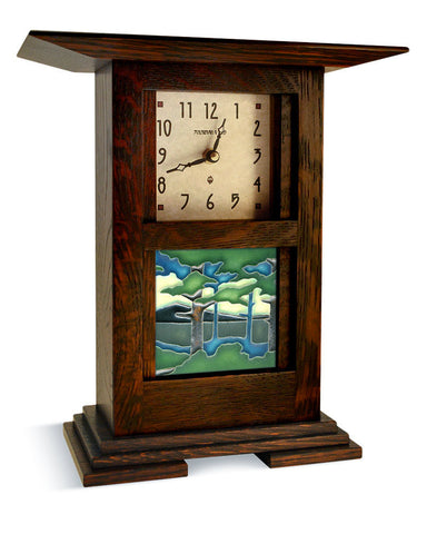 Arts and Crafts Motawi Pine Landscape Tile Clock